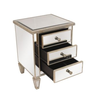 Ribbed Antique Mirrored Bedside
