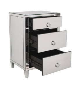 3 Drawer Mirrored Bedside