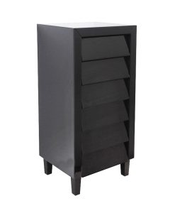 Modern Black Mirror Tallboy 6 Drawers