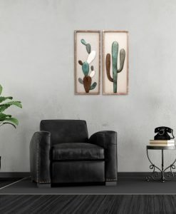 Wood and Metal Framed Cactus Wall Art