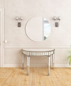 Elegant Mirrored Half Circle Console Table
