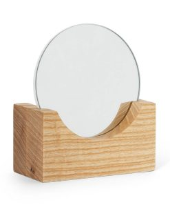 Vyanna Organic Wooden Vanity Round Mirror 12cm x 6cm x 14cm