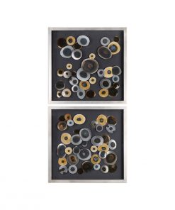 Iron Disc Frame Wall Art 81cm ( Set of 2 )