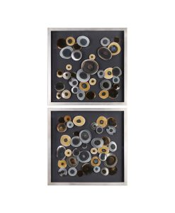 Iron Disc Frame Wall Art 81cm ( Set of 2 )
