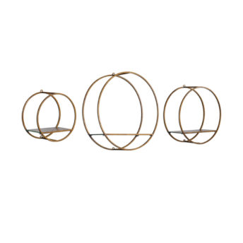 3-D Ellison Gold Metal Shelves 51cm ( Set of 3 )