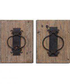 Rustic Metal Door Knockers Wall Art 32cm