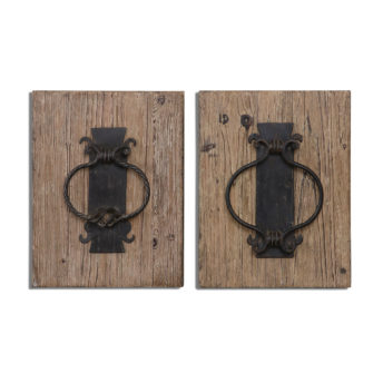 Rustic Metal Door Knockers Wall Art 32cm
