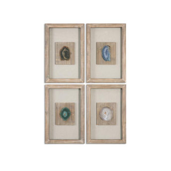 Agate Stone Shadow Box Wall Art 36cm ( Set of 4 )