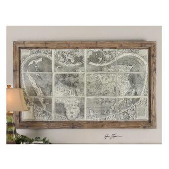 Treasure Map Wood Framed Wall Art 152cm