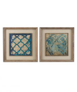 Stained Glass Indigo Wall Art ( Set of 2 )