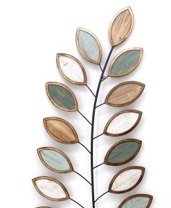Fern Leaves Wooden and Metal Wall Art 23.5 x 53 cm (Box of 2)