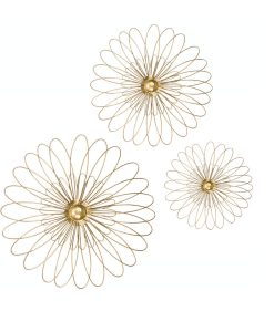 Gold Wire 3 Dimensional Metal Flower Wall Art ( Set of 3)