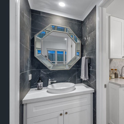 Bathroom Mirrors - The Top Mirrored Trends in Bathroom Design silver beaded Hex Mirror