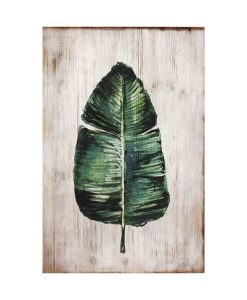 Botanical Timber Palm Leaf Panel Wall Art 40 x 3.5 x 60 cm