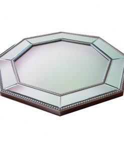 Silver Beaded Hex Mirror