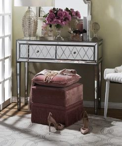 Krystal Console Table in Antique Silver