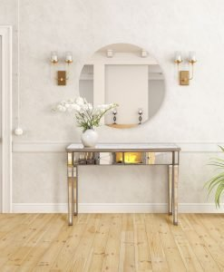 Apolo Antique Gold Mirrored Console Table 121cm
