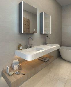 Backlit Mirrored Bathroom Cabinet