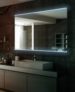 Lucy Deluxe LED Front-lit Mirror with Digital Clock by Remer
