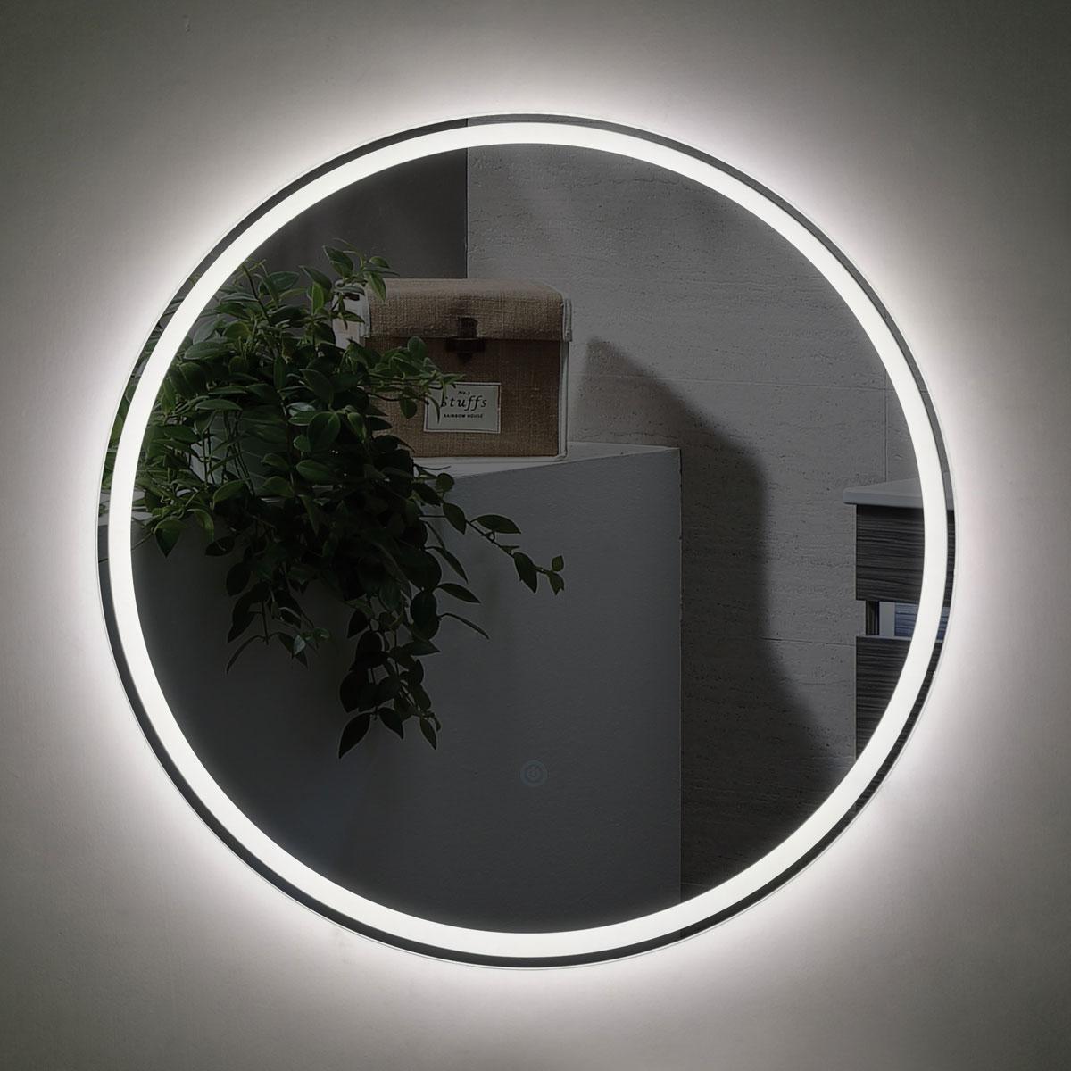Sphere illuminated round bathroom mirror remer 60cm luxe for Mirror 60cm wide