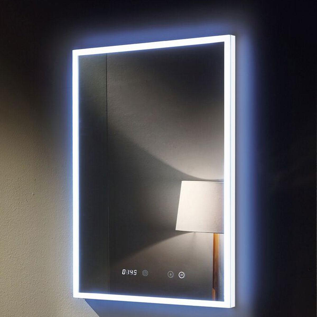Venus deluxe led backlit mirror digital clock 60cm x 80 cm for Mirror 60cm x 80cm
