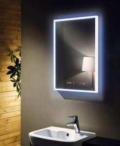 Venus Deluxe 600 LED Backlit Mirror with Digital Clock - Demister 60 x 80 cm
