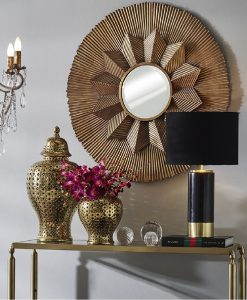 Gold Luna Round Wall Art Mirror