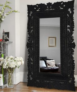 french oversize black floor mirror