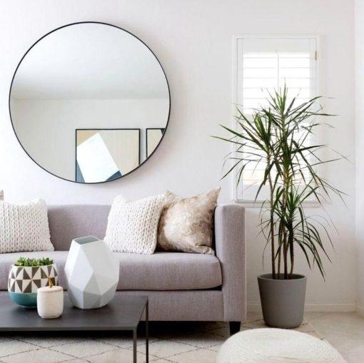 Romance Modern Black Frame Round Mirror 80cm or 120cm