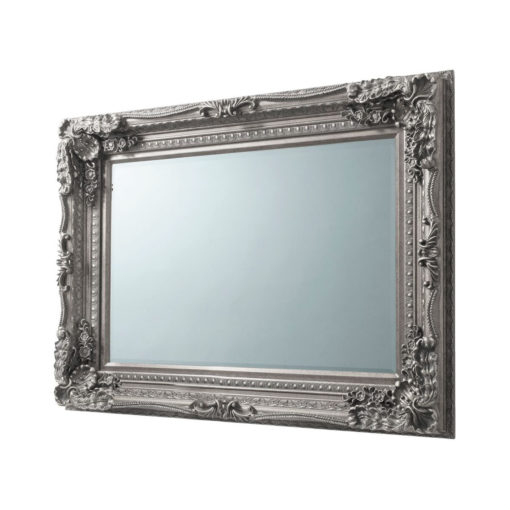 Lacey Ornate Wall Mirror Silver
