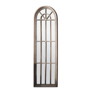 Curva Arched Window Mirror - Rustic Wooden Frame 178cm x 61cm