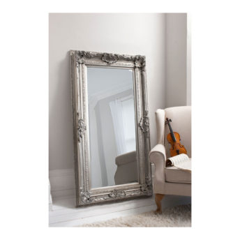 Decorative Leaner Mirror Silver