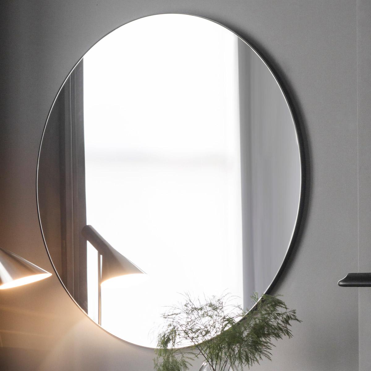 Infinity Edge Black Round Mirror 100cm Luxe Mirrors
