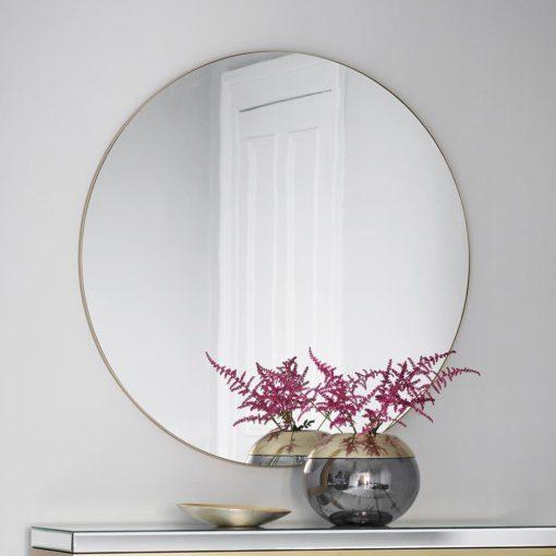 Infinity edge Champagne Round Mirror