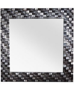 Basket Weave Square Wall Mirror in Black
