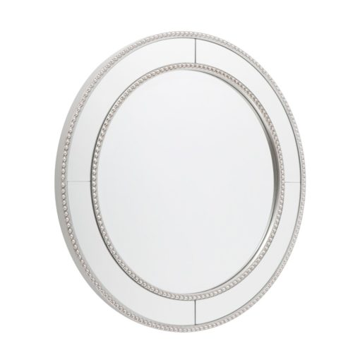 Zanthia Silver Beaded Round Mirror 60cm