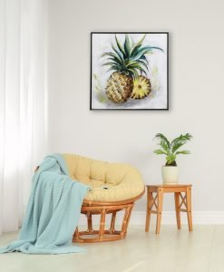 Framed Pineapple Canvas Wall Art 60cm