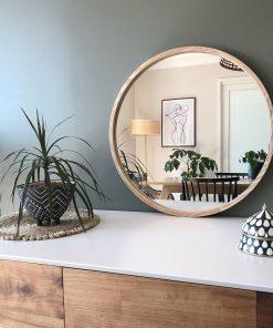 Modern Ambrosia Organic Wood Frame Round Mirror 60cm
