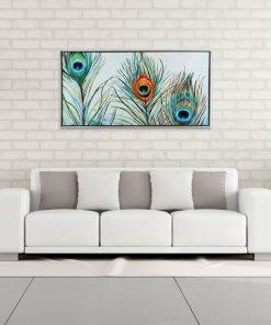 Framed Feathers Canvas Wall Art 60cm x 120cm