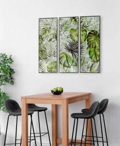 Framed Tropical Garden Canvas Wall Art (Set of 3) 120cm