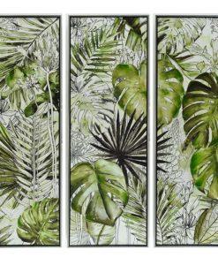 Framed Tropical Garden Canvas Wall Art (Set of 3)
