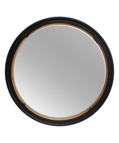 Sophie Black and Gold Decorative Round Mirror