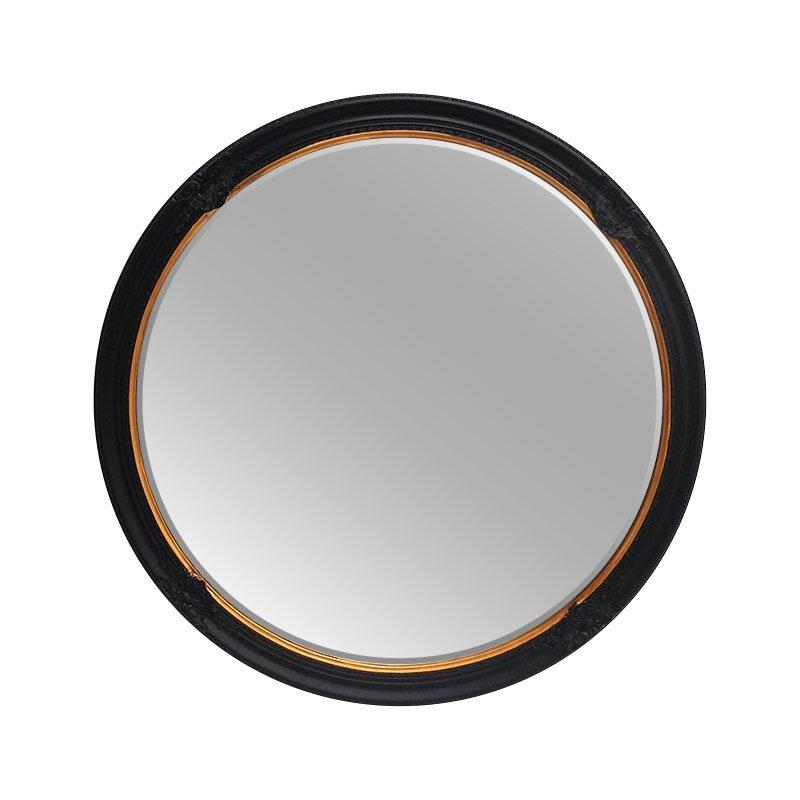 Sophie Black Amp Gold Decorative Round Mirror 100cm Luxe