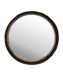 Black & Gold Decorative Round Mirror