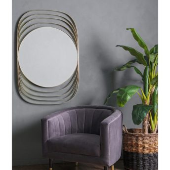 Add a luxe vibe to your lounge or any interior space with the Venus Ring mirror.  Silver Metal rings encase the round mirror.