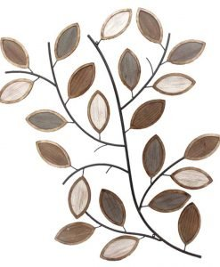 Winter Leaves Wooden and Metal Wall Art