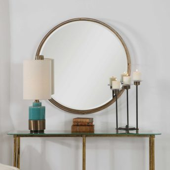 Contemporary Cannon Round Mirror by Uttermost 91cm