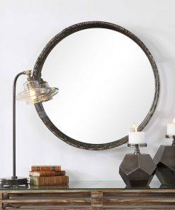 Contemporary Genovia Round Mirror by Uttermost 81cm