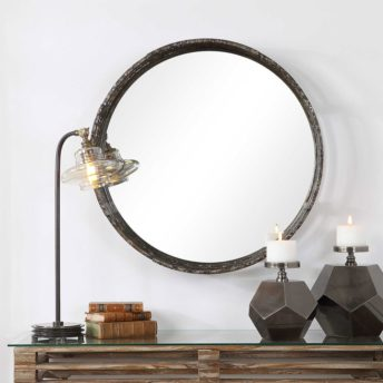 Contemporary Genovia Round Mirror by Uttermost 81cm