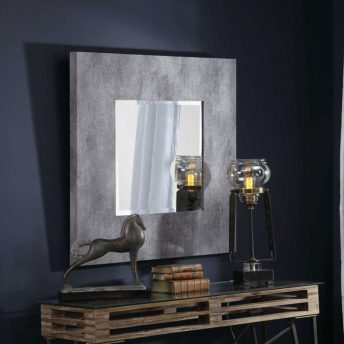 Contemporary Rohan Square Mirror by Uttermost 94cm - Dark Grey
